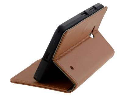 Microsoft Lumia 640 Slim Synthetic Leather Wallet Case with Stand - Brown