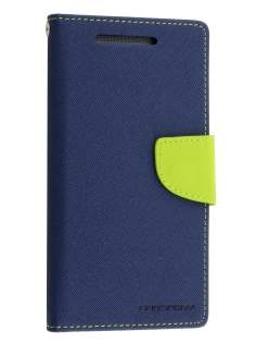 Mercury Goospery Colour Fancy Diary Case with Stand for HTC One M8 - Navy/Lime Leather Wallet Case