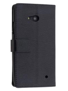 Slim Synthetic Leather Wallet Case with Stand for Microsoft Lumia 640 - Classic Black Leather Wallet Case