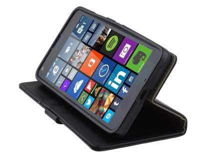 Slim Synthetic Leather Wallet Case with Stand for Microsoft Lumia 640 - Classic Black