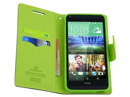 Mercury Colour Fancy Diary Case with Stand for HTC One M8 - Navy/Lime