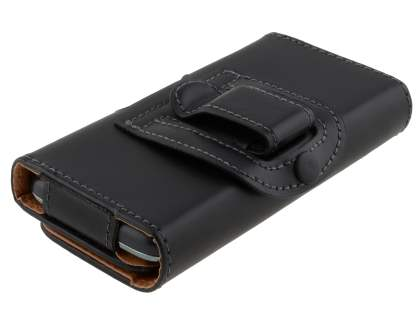 Smooth Synthetic Leather Belt Pouch for Motorola Defy Mini XT320 - Classic Black