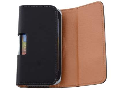 Smooth Synthetic Leather Belt Pouch for Sony Xperia M - Classic Black
