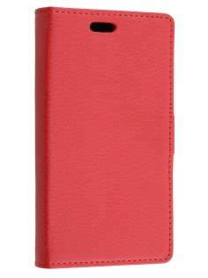 Motorola Moto E 2nd Gen Slim Synthetic Leather Wallet Case with Stand - Red