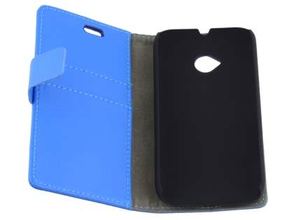 Motorola Moto E 2nd Gen Slim Synthetic Leather Wallet Case with Stand - Blue