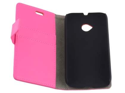 Slim Synthetic Leather Wallet Case with Stand for Motorola Moto E 2nd Gen - Pink