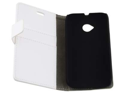 Slim Synthetic Leather Wallet Case with Stand for Motorola Moto E 2nd Gen - Pearl White