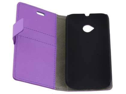 Motorola Moto E 2nd Gen Slim Synthetic Leather Wallet Case with Stand - Purple