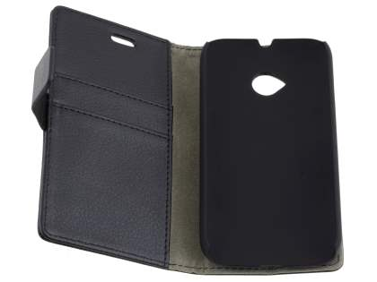 Slim Synthetic Leather Wallet Case with Stand for Motorola Moto E 2nd Gen - Classic Black
