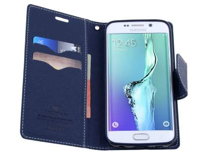 Mercury Goospery Colour Fancy Diary Case with Stand for Samsung Galaxy S6 Edge Plus - Mint/Navy