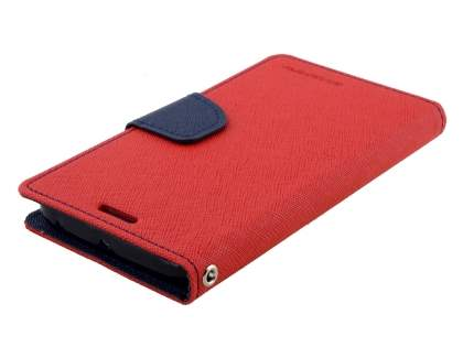 Mercury Colour Fancy Diary Case with Stand for Samsung Galaxy S6 Edge Plus - Red/Navy