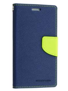 Mercury Goospery Colour Fancy Diary Case with Stand for Samsung Galaxy S6 Edge Plus - Navy/Lime Leather Wallet Case