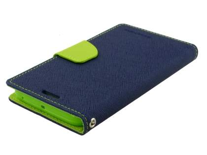 Mercury Colour Fancy Diary Case with Stand for Samsung Galaxy S6 Edge Plus - Navy/Lime