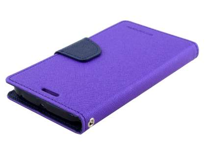Mercury Colour Fancy Diary Case with Stand for Samsung Galaxy S6 Edge Plus - Purple/Navy