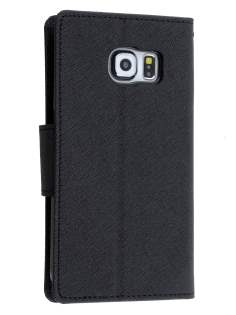 Mercury Colour Fancy Diary Case with Stand for Samsung Galaxy S6 Edge Plus - Classic Black