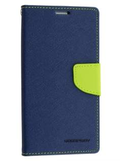 Mercury Colour Fancy Diary Case with Stand for Samsung Galaxy Note 5 - Navy/Lime