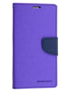 Mercury Goospery Colour Fancy Diary Case with Stand for Samsung Galaxy Note 5 - Purple/Navy Leather Wallet Case
