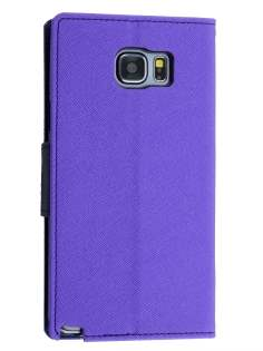 Mercury Colour Fancy Diary Case with Stand for Samsung Galaxy Note 5 - Purple/Navy