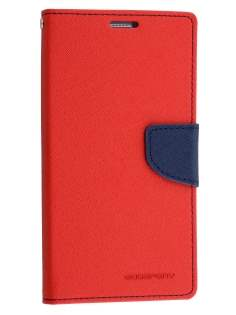 Mercury Colour Fancy Diary Case with Stand for Samsung Galaxy Note 5 - Red/Navy