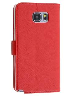 Synthetic Leather Wallet Case with Stand for Samsung Galaxy Note 5 - Red Leather Wallet Case