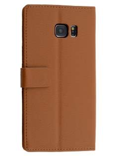 Slim Synthetic Leather Wallet Case with Stand for Samsung Galaxy S6 Edge Plus - Brown Leather Wallet Case