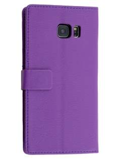 Slim Synthetic Leather Wallet Case with Stand for Samsung Galaxy S6 Edge Plus - Purple