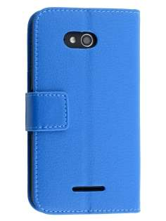 Slim Synthetic Leather Wallet Case with Stand for Sony Xperia E4g - Blue Leather Wallet Case