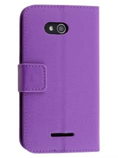 Slim Synthetic Leather Wallet Case with Stand for Sony Xperia E4g - Purple Leather Wallet Case