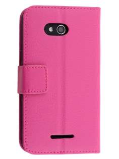 Slim Synthetic Leather Wallet Case with Stand for Sony Xperia E4g - Pink