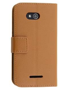 Slim Synthetic Leather Wallet Case with Stand for Sony Xperia E4g - Brown Leather Wallet Case
