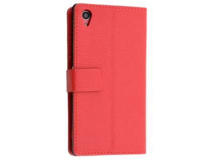 Slim Synthetic Leather Wallet Case with Stand for Sony Xperia M4 Aqua - Red Leather Wallet Case