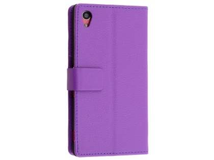 Slim Synthetic Leather Wallet Case with Stand for Sony Xperia M4 Aqua - Purple Leather Wallet Case
