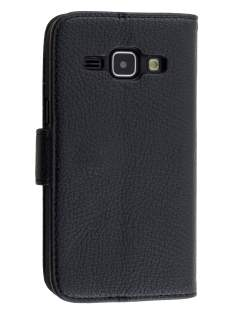 Synthetic Leather Wallet Case with Stand for Samsung Galaxy J1 (2015) - Classic Black Leather Wallet Case
