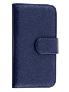 Samsung Galaxy J1 (2015) Synthetic Leather Wallet Case with Stand - Dark Blue