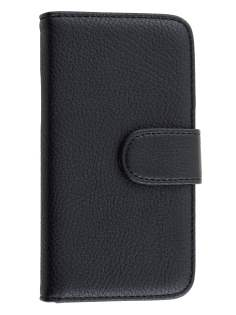 Samsung Galaxy J1 Synthetic Leather Wallet Case with Stand - Classic Black