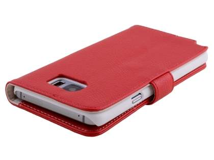 Samsung Galaxy Note 5 Synthetic Leather Wallet Case with Stand - Red