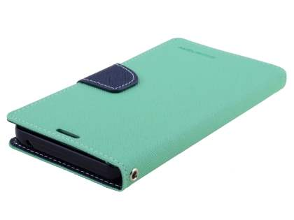 Mercury Goospery Colour Fancy Diary Case with Stand for Samsung Galaxy Note 5 - Mint/Navy