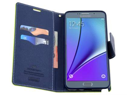 Mercury Colour Fancy Diary Case with Stand for Samsung Galaxy Note 5 - Lime/Navy