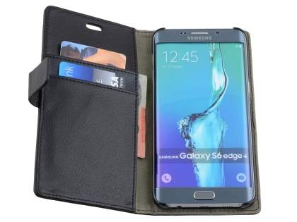 Samsung Galaxy S6 Edge Plus Slim Synthetic Leather Wallet Case with Stand - Classic Black