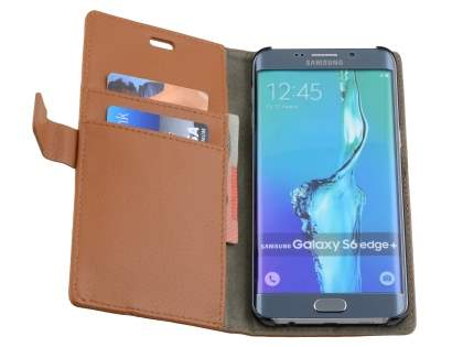 Slim Synthetic Leather Wallet Case with Stand for Samsung Galaxy S6 Edge Plus - Brown