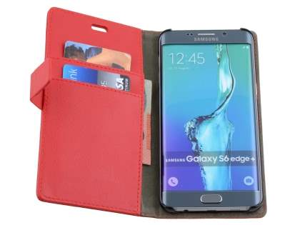 Samsung Galaxy S6 Edge Plus Slim Synthetic Leather Wallet Case with Stand - Red