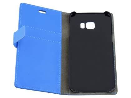 Samsung Galaxy S6 Edge Plus Slim Synthetic Leather Wallet Case with Stand - Blue