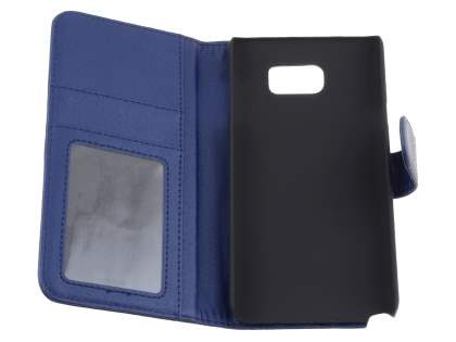 Samsung Galaxy Note 5 Synthetic Leather Wallet Case with Stand - Dark Blue