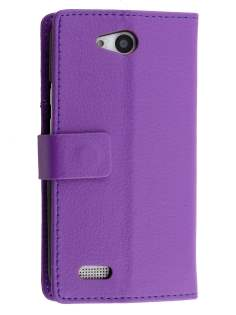 Slim Synthetic Leather Wallet Case with Stand for ZTE Telstra 4GX Buzz - Purple Leather Wallet Case