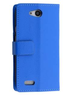 Slim Synthetic Leather Wallet Case with Stand for ZTE Telstra 4GX Buzz - Blue Leather Wallet Case