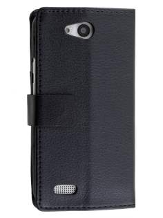 Slim Synthetic Leather Wallet Case with Stand for ZTE Telstra 4GX Buzz - Black Leather Wallet Case