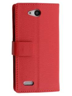 Slim Synthetic Leather Wallet Case with Stand for ZTE Telstra 4GX Buzz - Red Leather Wallet Case