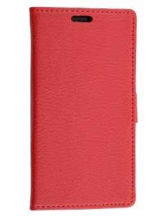 Slim Synthetic Leather Wallet Case with Stand for ZTE Telstra 4GX Buzz - Red