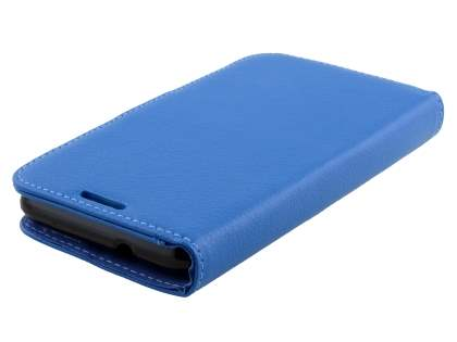 Sony Xperia E4g Slim Synthetic Leather Wallet Case with Stand - Blue