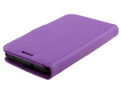 Slim Synthetic Leather Wallet Case with Stand for Sony Xperia E4g - Purple